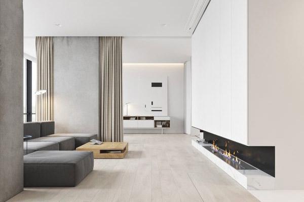 Phòng khách chung cư theo phong cách tối giản 8