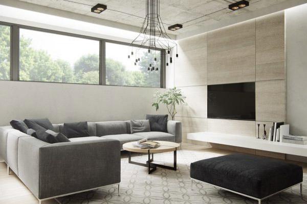 Phòng khách chung cư theo phong cách tối giản 9