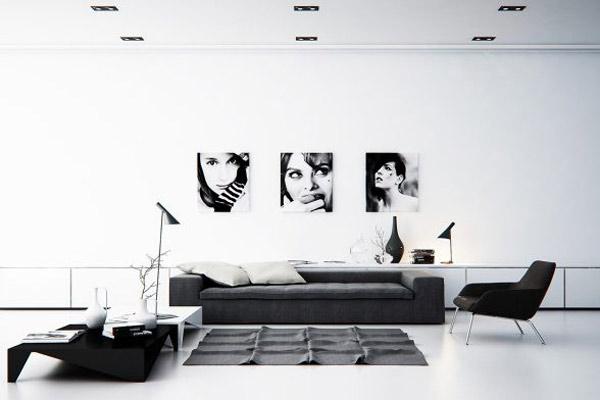 Phòng khách chung cư theo phong cách tối giản 4