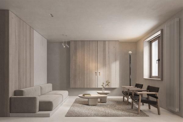 Phòng khách chung cư theo phong cách tối giản 17