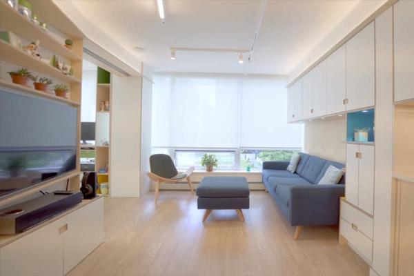 Phòng khách chung cư theo phong cách tối giản 19