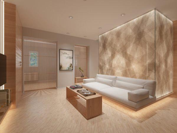 Đèn âm trần tạo ánh sáng phản chiếu sang tường và xuống sàn