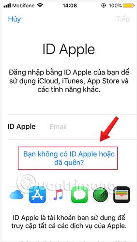 Chọn Bạn không có ID Apple hoặc đã quên? và chọn Tạo ID Apple