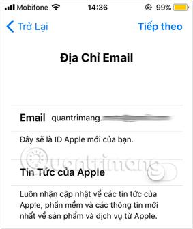 Nhập địa chỉ Email dùng để tạo ID Apple