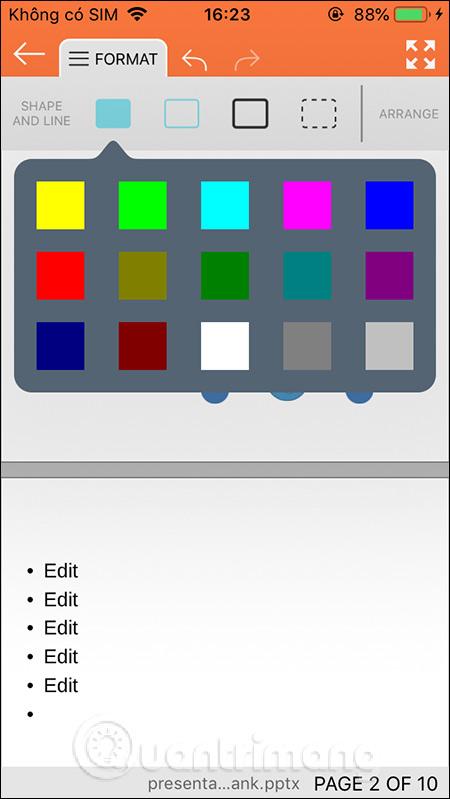 Chọn màu cho shape