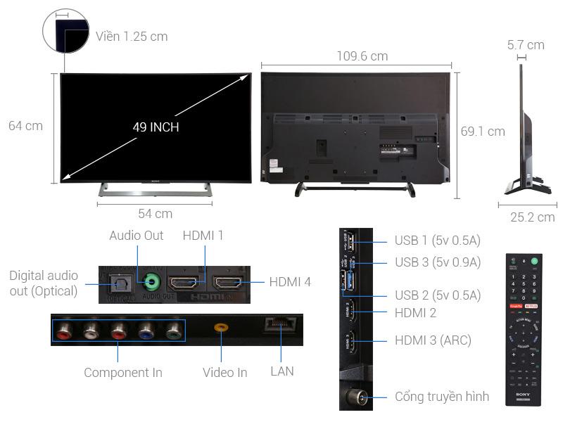 Kích thước Anroid tivi Sony 49 inch KD-49X8000E.