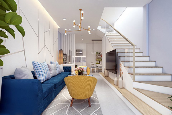 Phòng khách có cầu thang đẹp 2