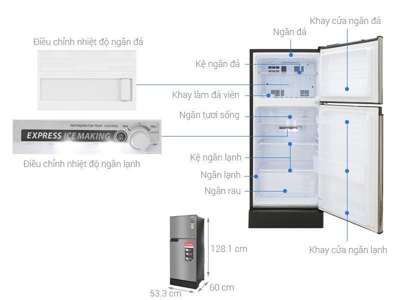 Tủ lạnh 2 cánh Sharp 150 lít