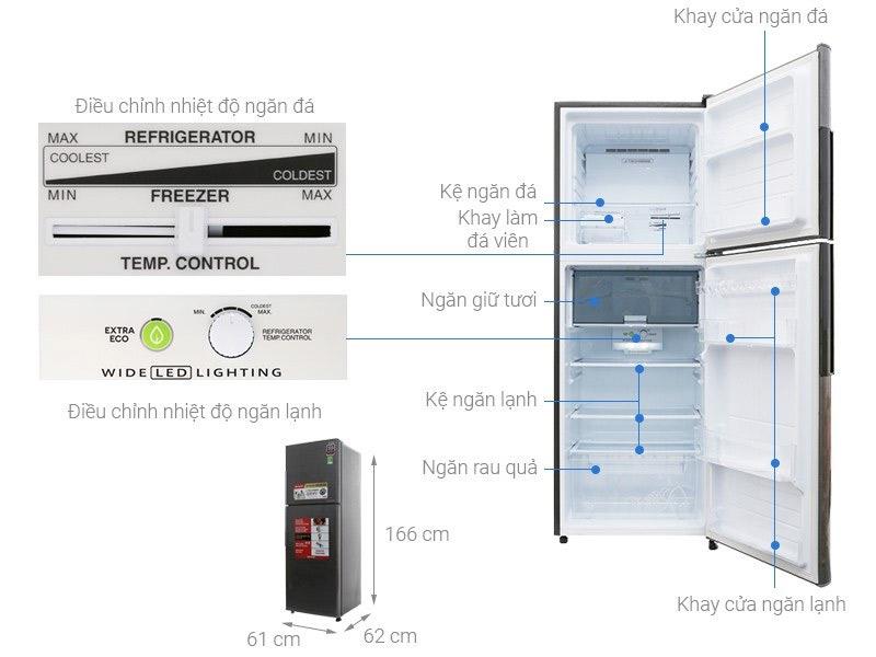 Tủ lạnh 2 cánh Sharp 287 lít