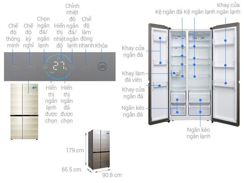 Tủ lạnh Shide by side Aqua 518 lít