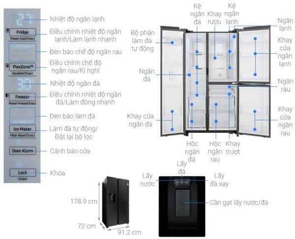 Tủ lạnh Shide by side Samsung 602 lít