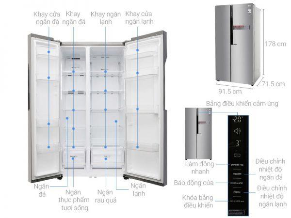 Tủ lạnh Shide by side LG 613 lít