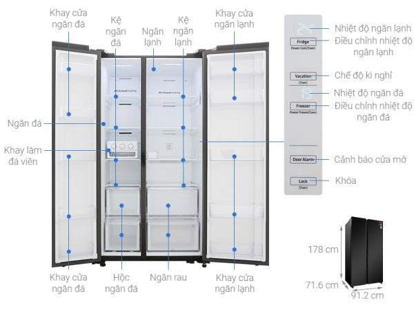 Tủ lạnh Shide by side Samsung 647 lít