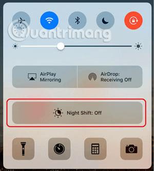 Nút Night Shift trong Control Center trên iOS 10