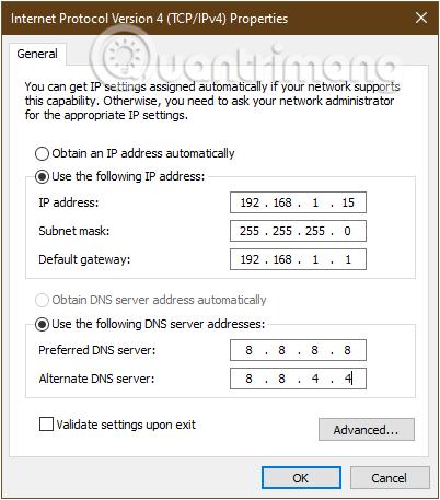Thiết lập IP tĩnh cho máy tính bị lỗi WiFi chấm than vàng