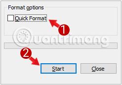 Bỏ tích tùy chọn Quick Format đi, sau đó chọn Start