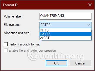 Thay đổi định dạng FAT 32 thành NTFS hoặc exFAT