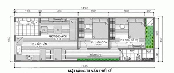 Mẫu nhà cấp 4 mái thái 2 phòng ngủ, diện tích 5mx15m 2