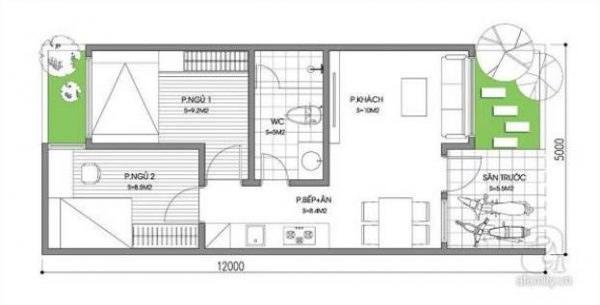 Mẫu nhà cấp 4 có 2 phòng ngủ 1 phòng thờ, diện tích 5mx12m