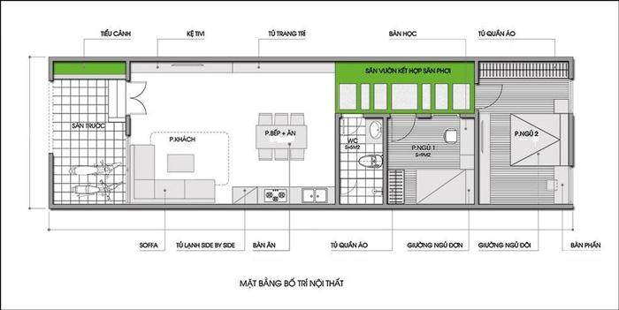 Mẫu nhà cấp 4 gồm 2 phòng ngủ với diện tích 5x20m