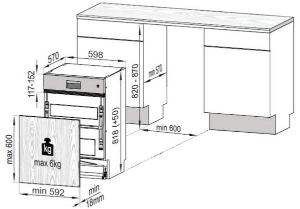 Kích thước máy rửa bát âm tủ