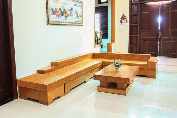 Bộ bàn ghế gỗ hiện đại hình chữ L giá rẻ