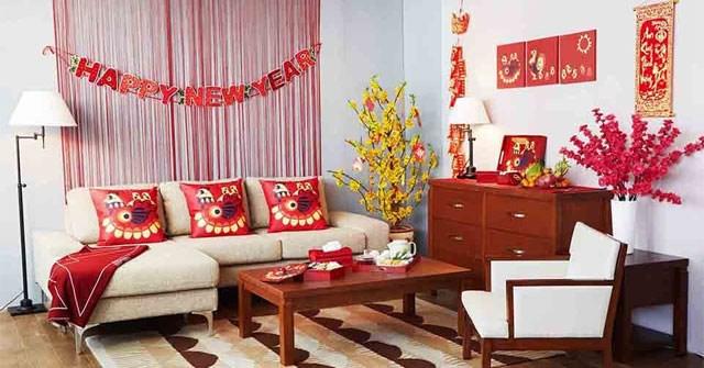 Cách trang trí phòng khách ngày Tết đẹp, sang trọng