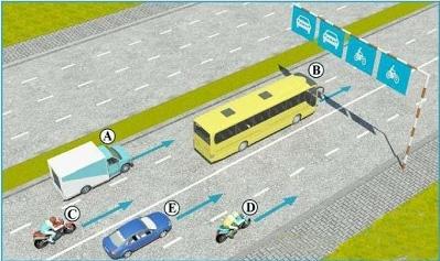 Câu hỏi 19: Trong hình dưới, những xe nào vi phạm quy tắc giao thông?