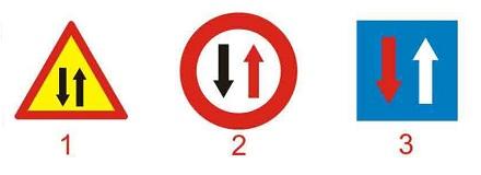Câu hỏi 13: Biển nào chỉ dẫn được ưu tiên qua đường hẹp?