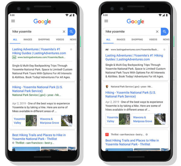 How to display on the Google search page on mobile, old (left) and new (right).