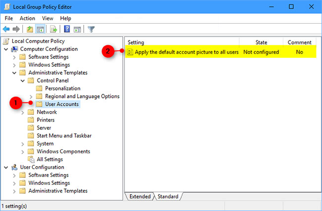 Apply the default account image to all users using Group Policy