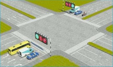 Câu hỏi 16: Theo tín hiệu đèn, xe nào được quyền đi là đúng quy tắc giao thông?