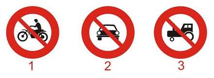 Câu hỏi 14: Biển nào báo hiệu cấm xe mô tô hai bánh đi vào?