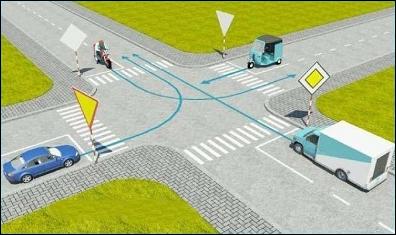 Câu hỏi 16: Thứ tự các xe đi như thế nào là đúng quy tắc giao thông?