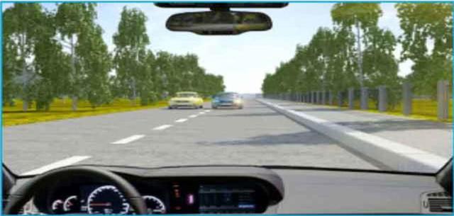 Câu hỏi 29: Phía trước có một xe màu xanh đang vượt xe màu vàng trên làn đường của bạn, bạn xử lý như thế nào trong trường hợp này?