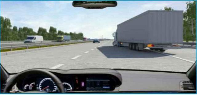 Câu hỏi 30: Xe tải phía trước có tín hiệu xin chuyển làn đường, bạn xử lý như thế nào trong trường hợp này?