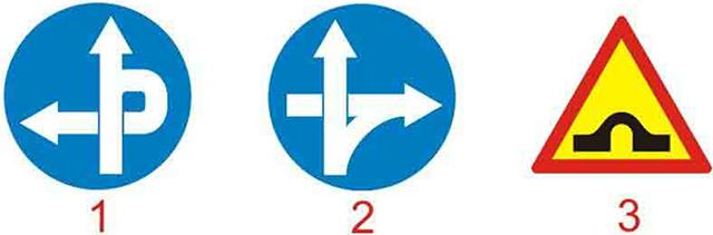 Câu hỏi 18: Biển nào báo hiệu tuyến đường cầu vượt cắt qua?