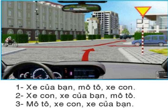 Câu hỏi 28: Các xe đi theo thứ tự nào là đúng quy tắc giao thông?