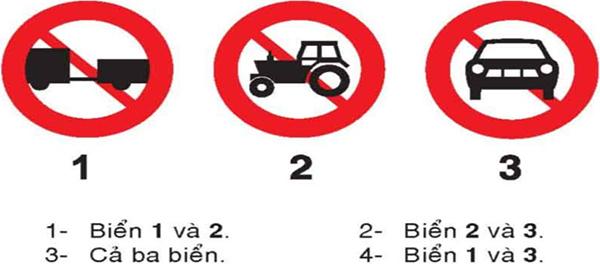 Câu hỏi 19: Biển nào không có hiệu lực đối với ô tô tải không kéo moóc
