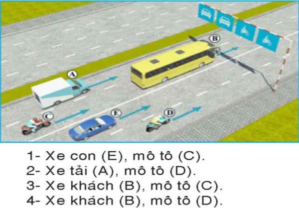 Câu hỏi 28: Trong hình dưới đây, những xe nào vi phạm quy tắc giao thông?