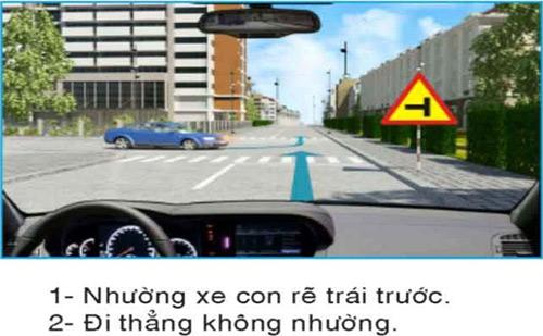 Câu hỏi 29: Để điều khiển cho xe đi thẳng, người lái xe phải làm gì để đúng quy tắc giao thông?