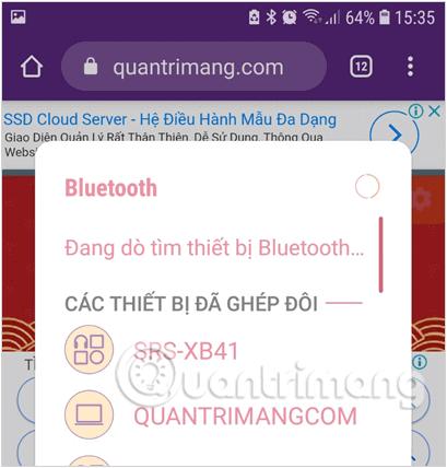 Bật Bluetooth từ Cài đặt Settings