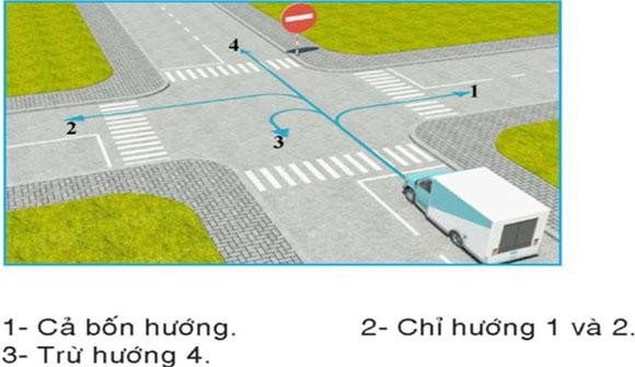 Câu hỏi 26: Những hướng nào xe tải được phép đi?