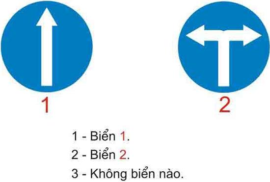 Câu hỏi 19: Biển nào (đặt trước ngã ba ngã tư) cho phép xe được rẽ sang hướng khác?