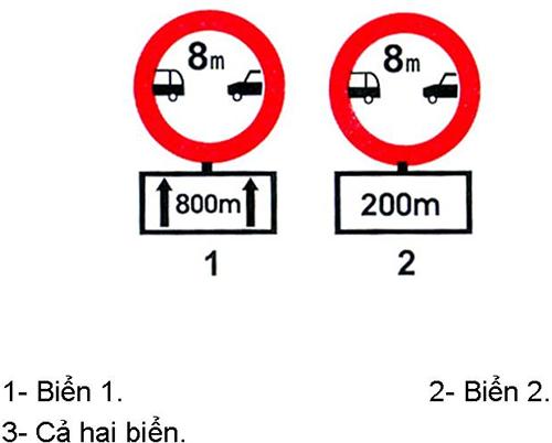 Câu hỏi 22: Biển nào báo hiệu khoảng cách thực tế từ nơi đặt biển đến nơi cần cự ly tối thiểu giữa hai xe?
