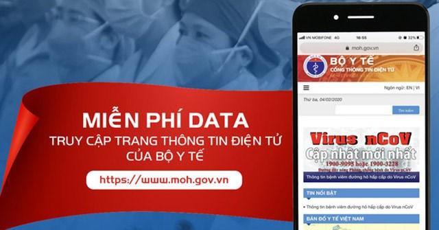 Miễn phí cước data cho thuê bao di động khi truy cập vào trang web của Bộ Y tế