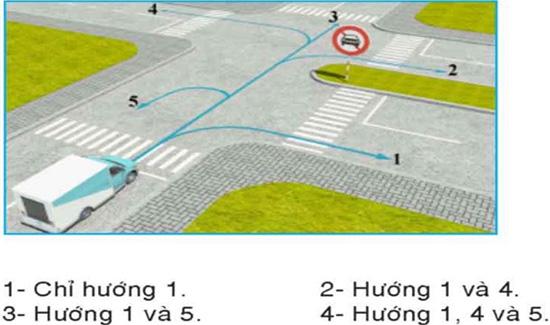 Câu hỏi 26: Những hướng nào ô tô tải được phép đi?