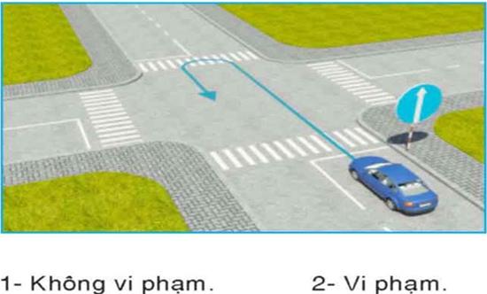 Câu hỏi 29: Ô tô con đi theo chiều mũi tên có vi phạm quy tắc giao thông không?