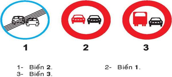 Câu hỏi 19: Biển nào không cho phép ô tô con vượt?