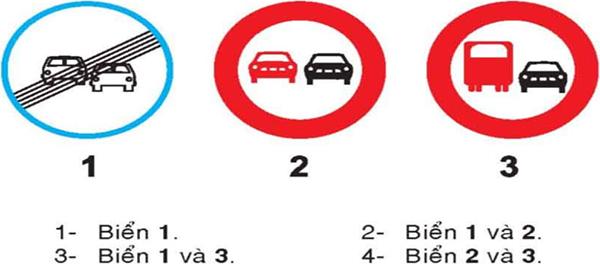 Câu hỏi 20: Biển nào cấm ô tô tải vượt?
